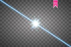 Glöd isolerade blå genomskinlig effekt, linssignalljuset, explosion, blänker, fodrar, solexponeringen, gnistan och stjärnor för Royaltyfri Bild