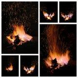 Glöd och flammor av en smeds smedja Arkivbilder