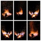 Glöd och flammor av en smeds smedja Fotografering för Bildbyråer