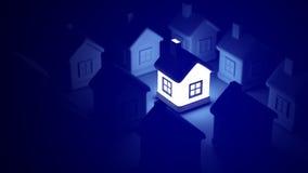 Glöda hem- på blå bakgrund, idébegrepp tolkning 3d av många hus och ett ljust hus i mitt Arkivbild