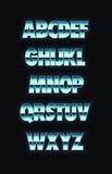 Glödande alfabet för neonmetall vektor Royaltyfri Foto