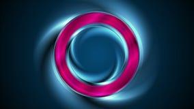Glödande animering för ljus cirkel för neon abstrakt video vektor illustrationer