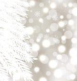 Glödande bakgrund för abstrakt vinter med päls-treen Arkivfoto