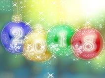 Glödande bakgrund för lyckligt nytt år 2018 stock illustrationer
