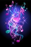 Glödande bakgrund med musikal noterar vektor illustrationer