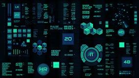 Glödande blå futuristisk manöverenhet/Digital screen/HUD