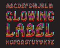 Glödande bokstavsetikettstilsort Färgrik luminiscent stilsort Isolerat engelskt alfabet Royaltyfri Illustrationer