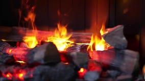 Glödande brand i en spis Videomaterial lager videofilmer