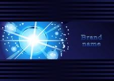 Glödande bubblor, abstraktion, på ett mörker - blå bakgrund stock illustrationer