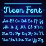 Glödande calligraphic bokstäver för neon på mörker Vektoralfabettecken stock illustrationer