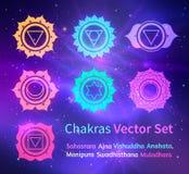 Glödande chakras på utrymmebakgrund royaltyfri illustrationer
