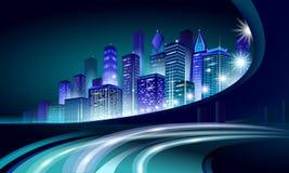 Glödande cityscape för smart neon för stad 3D Futuristisk affärsidé för intelligent byggnadsautomationnatt Rengöringsduk direktan stock illustrationer