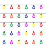Glödande färgrika ljusa kulor planlägger Girlander jul semestrar garnering vektor illustrationer