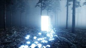 Glödande fjärilar i dimmanattskog tänder portaldörren Mistic och magiskt begrepp Realistisk animering 4K