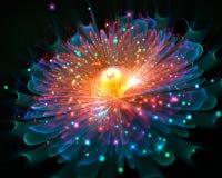 Glödande fractalbakgrundsblomma royaltyfri fotografi