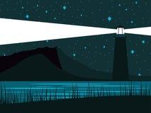 Glödande fyr mot bakgrunden av den stjärnklara himlen Nattkusten av havet vektor royaltyfri illustrationer