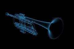 glödande genomskinlig trumpet för blue royaltyfri illustrationer