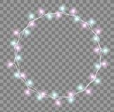 Glödande girland med små lampor Effekter för girlandjulpyntljus Design för kort för Xmas-feriehälsning stock illustrationer