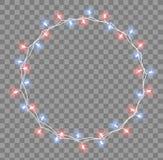 Glödande girland med små lampor Effekter för girlandjulpyntljus Glödande ferie för ljusgirlandXmas royaltyfri illustrationer