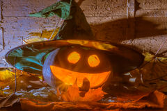Glödande halloween pumpa i häxahatt royaltyfri bild
