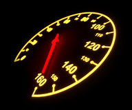Glödande hastighetsmätarevisartavla Royaltyfri Fotografi