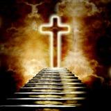Glödande helig kors och trappuppgång som leder till himmel royaltyfri illustrationer