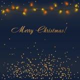 Glödande julljus för vektor med färgrik girlandbelysning och guld- garneringar med ord för glad jul vektor illustrationer