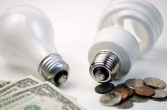 Glödande kontra CFL-Lightbulb Arkivbild