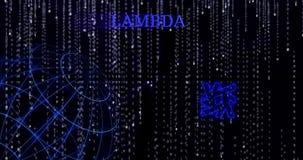 Glödande Lambda-LAMMsymbol mot de fallande symbolerna för binär kod arkivfilmer