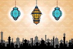Glödande lampa på bakgrund för Eid ul Adha vektor illustrationer