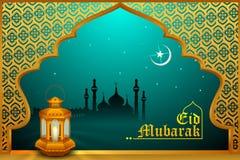 Glödande lampa på Eid Mubarak bakgrund stock illustrationer