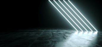 Glödande linje ljus för futuristiskt Sci Fi vitt neon i tomt mörker R vektor illustrationer