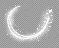 Glödande linjer för abstrakt jul med ett drev upp Fallande dammpartiklar Magisk glödkomet Den tändande effekten av stjärnorna stock illustrationer