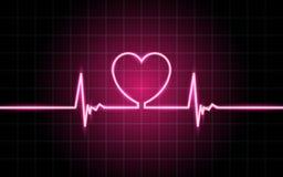 Glödande linjer för neon, hjärtslagbegrepp royaltyfri illustrationer