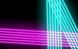 Glödande linjer för neon, magiskt begrepp för energiutrymmeljus, abstrakt bakgrund stock illustrationer