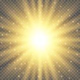 Glödande ljus bristningsexplosion för vit på genomskinlig bakgrund Ljus signalljuseffektgarnering med strålen mousserar royaltyfri illustrationer