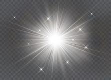 Glödande ljus exploderar på en genomskinlig bakgrund stock illustrationer