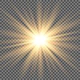 Glödande ljus exploderar på en genomskinlig bakgrund vektor illustrationer