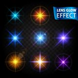 Glödande ljus ilsken blick, ljusa realistiska belysningeffekter Använd designen, glöd för det nya året, jul och ferier Vektorillu Arkivbilder