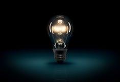 Glödande ljus kula 3D på mörker - blå bakgrund Arkivbilder
