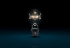 glödande ljus kula 3D på mörker - blå bakgrund Royaltyfri Bild