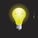 Glödande ljus kula i mörkret med strömbrytarevektorn vektor illustrationer