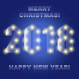2018 glödande ljus på en blå bakgrund glad jul Lyckligt vektor illustrationer