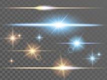 Glödande ljusa effekter stock illustrationer