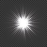Glödande ljusa effekter med stordian Ljus explosion med genomskinlig bakgrund Lens signalljus, strålar, stjärnor och Arkivbild