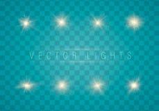 Glödande ljuseffekt stock illustrationer