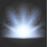 Glödande ljuseffekt, signalljus, explosion och stjärnor stock illustrationer