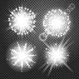 Glödande ljuseffekter för vektor på genomskinlig bakgrund Exponering med stordian FyrverkeriPictograms, Lens Arkivbild