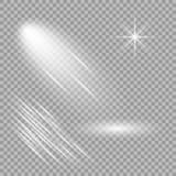 Glödande ljusvektoreffekt På en isolerad genomskinlig bakgrund exponeringar Riktningsstrålar, explosion och stjärnor vektor illustrationer