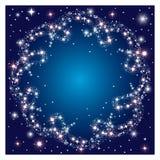 Glödande mörk bakgrund med den runda ramen mousserar stjärnor Royaltyfri Bild